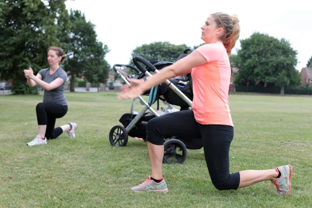 Lunging forward at a buggyfit session outside.