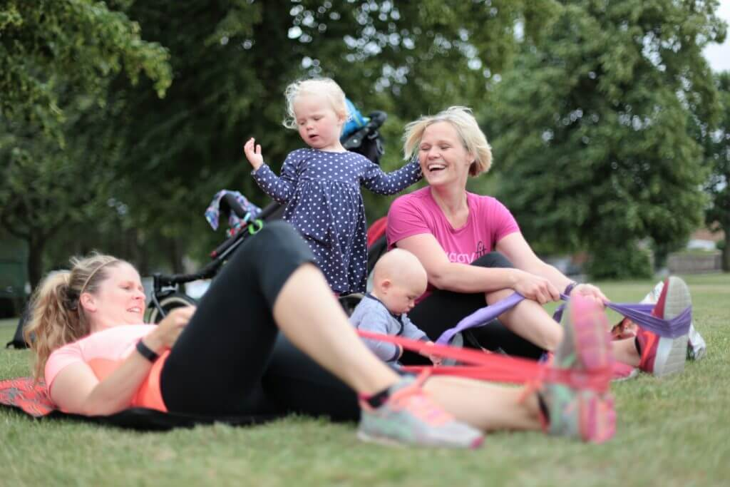 Women and kids at a buggyfit session.